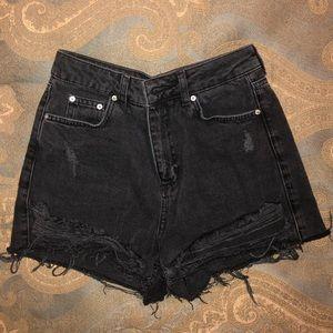 TOPSHOP High Waisted Denim Jean Shorts